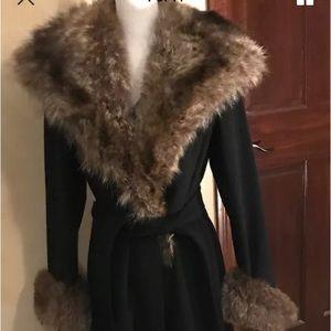 Teresa Tardia Virgin Wool Coat W/Raccoon Fur trim
